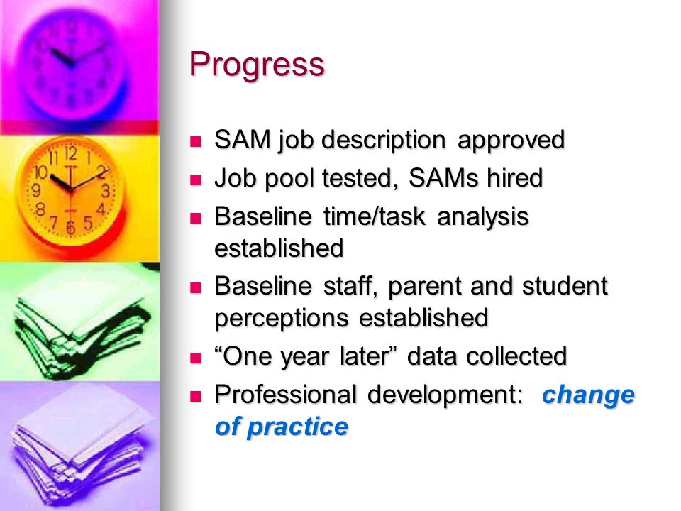 Progress SAM job description approved Job pool tested, SAMs hired