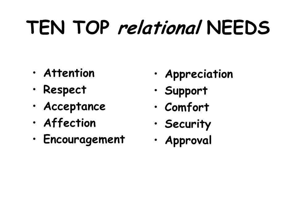 TEN TOP relational NEEDS
