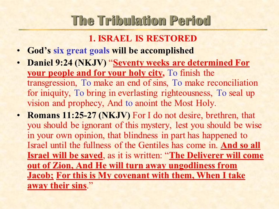 The Tribulation Period 1. ISRAEL IS RESTORED