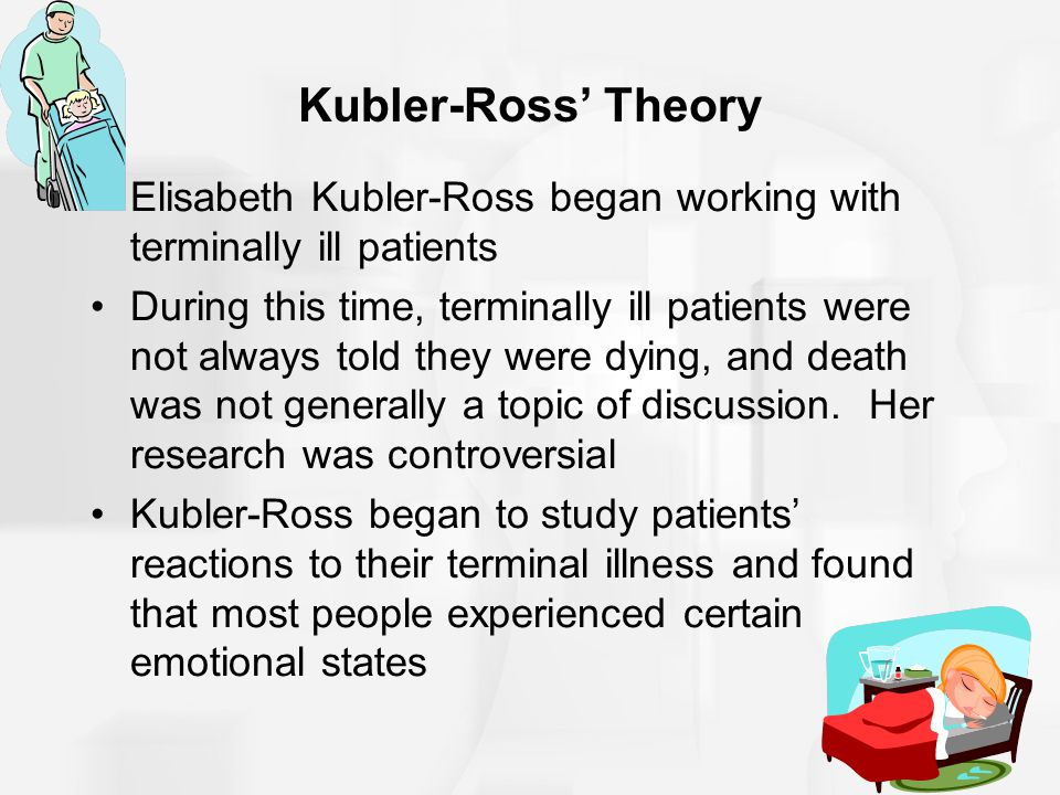 Kubler-Ross' Theory Elisabeth Kubler-Ross began working with terminally ill patients.