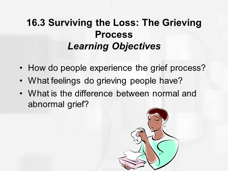 16.3 Surviving the Loss: The Grieving Process Learning Objectives