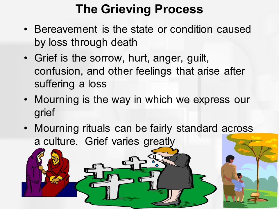The Grieving Process Bereavement is the state or condition caused by loss through death.
