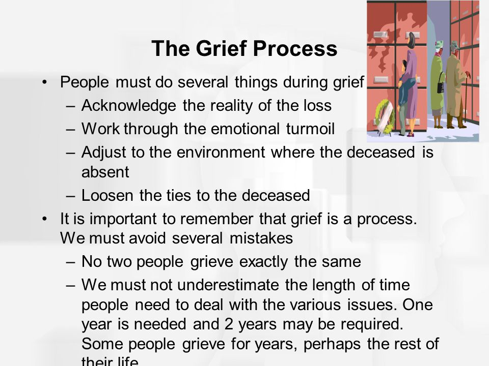 The Grief Process People must do several things during grief