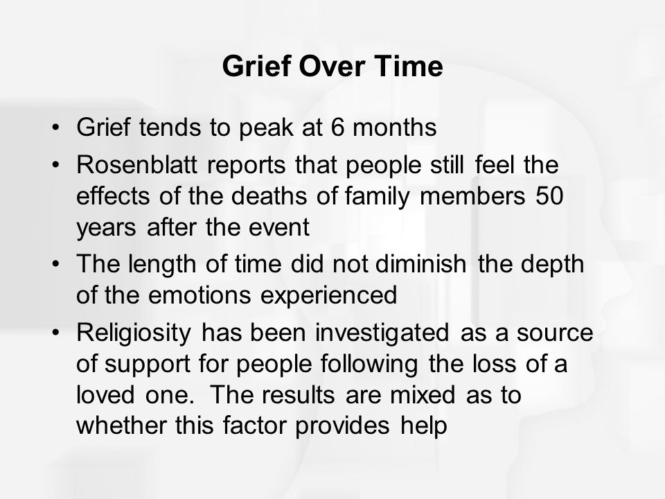Grief Over Time Grief tends to peak at 6 months
