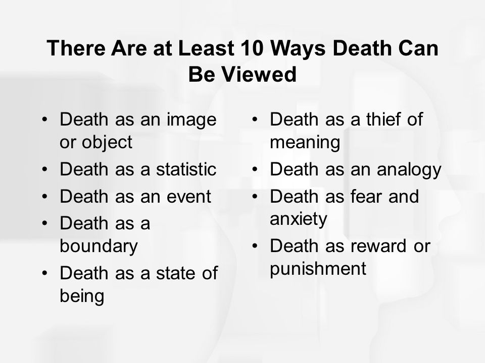 There Are at Least 10 Ways Death Can Be Viewed