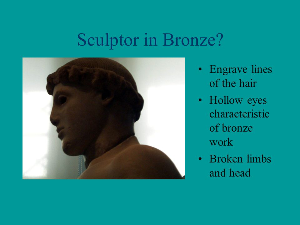 Sculptor in Bronze Engrave lines of the hair