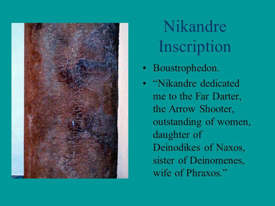 Nikandre Inscription Boustrophedon.