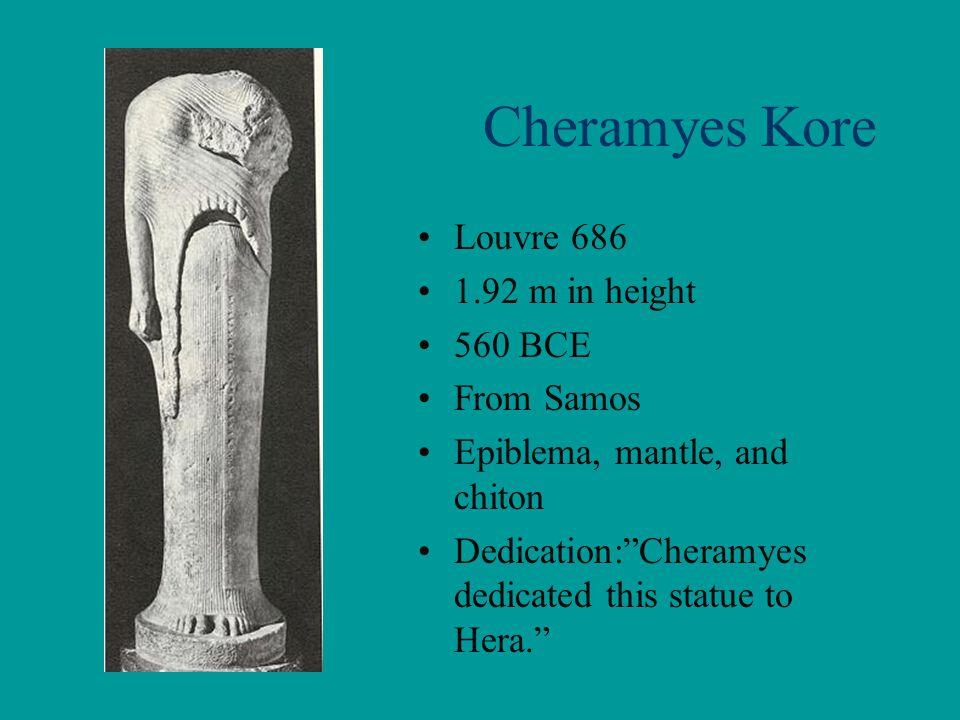 Cheramyes Kore Louvre 686 1.92 m in height 560 BCE From Samos
