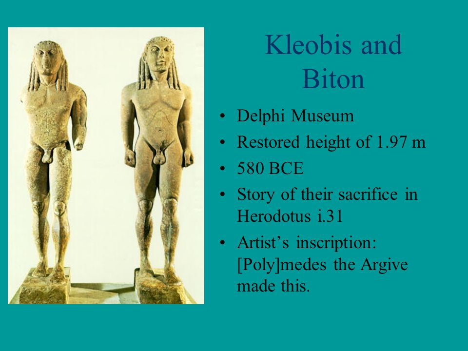 Kleobis and Biton Delphi Museum Restored height of 1.97 m 580 BCE