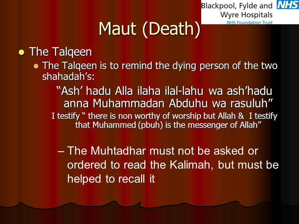 Maut (Death) The Talqeen