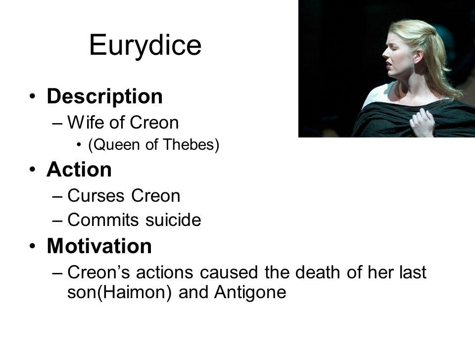 Eurydice Description Action Motivation Wife of Creon Curses Creon