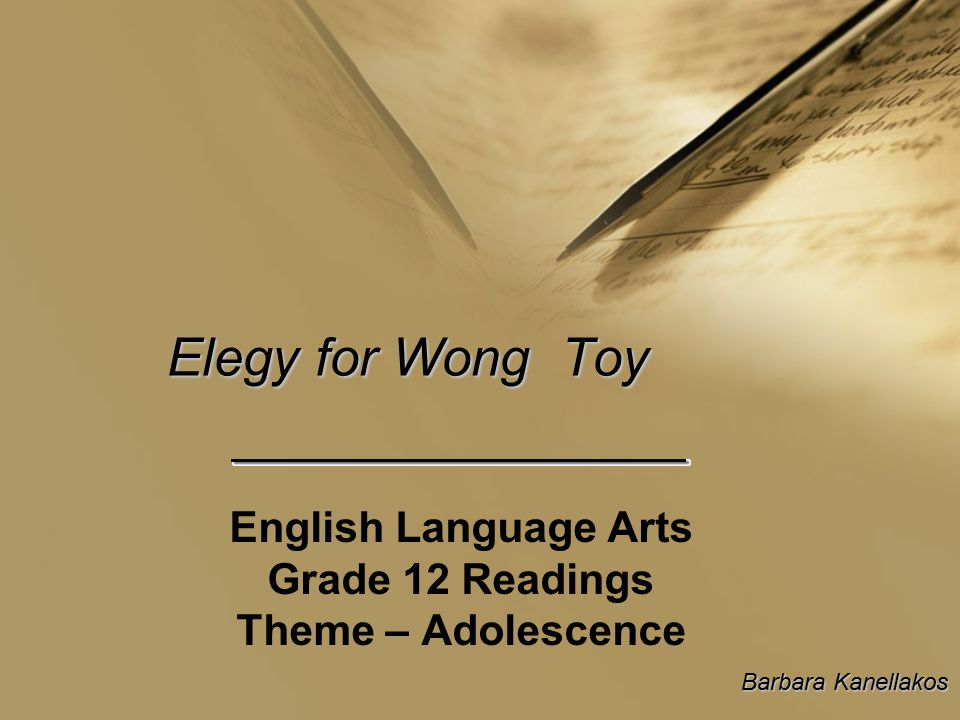 English Language Arts Grade 12 Readings Theme – Adolescence
