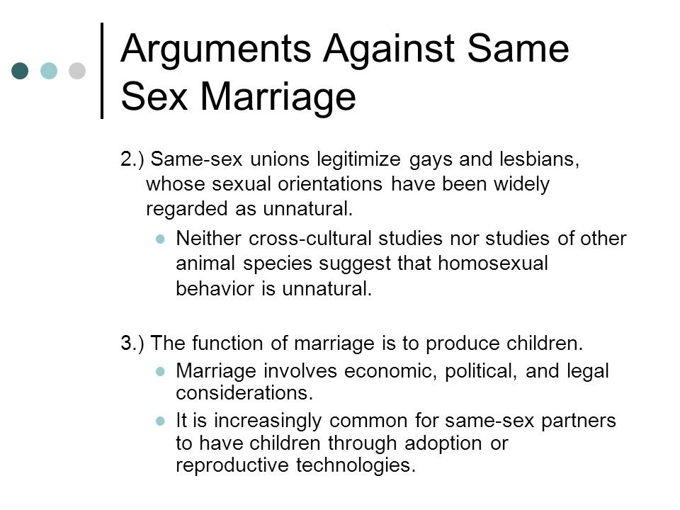 Legal reasons againt gay marriage