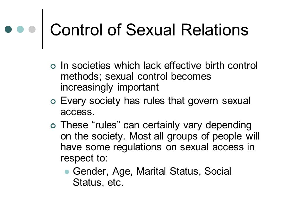 Control of Sexual Relations