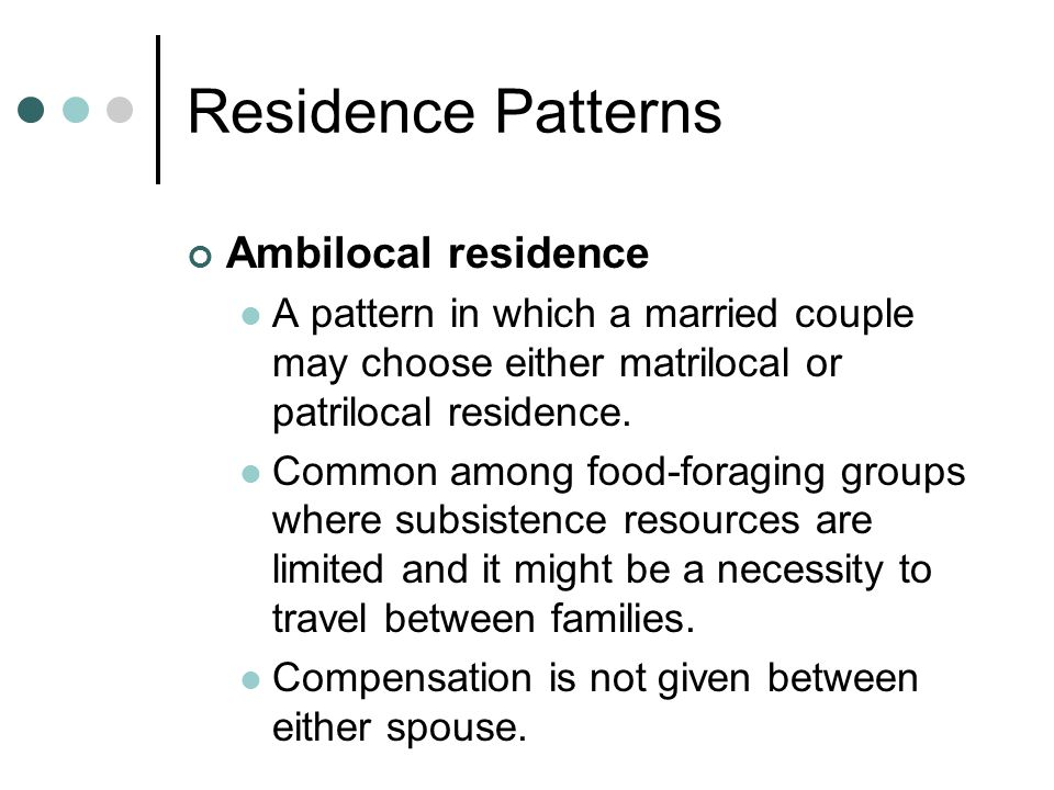 Residence Patterns Ambilocal residence