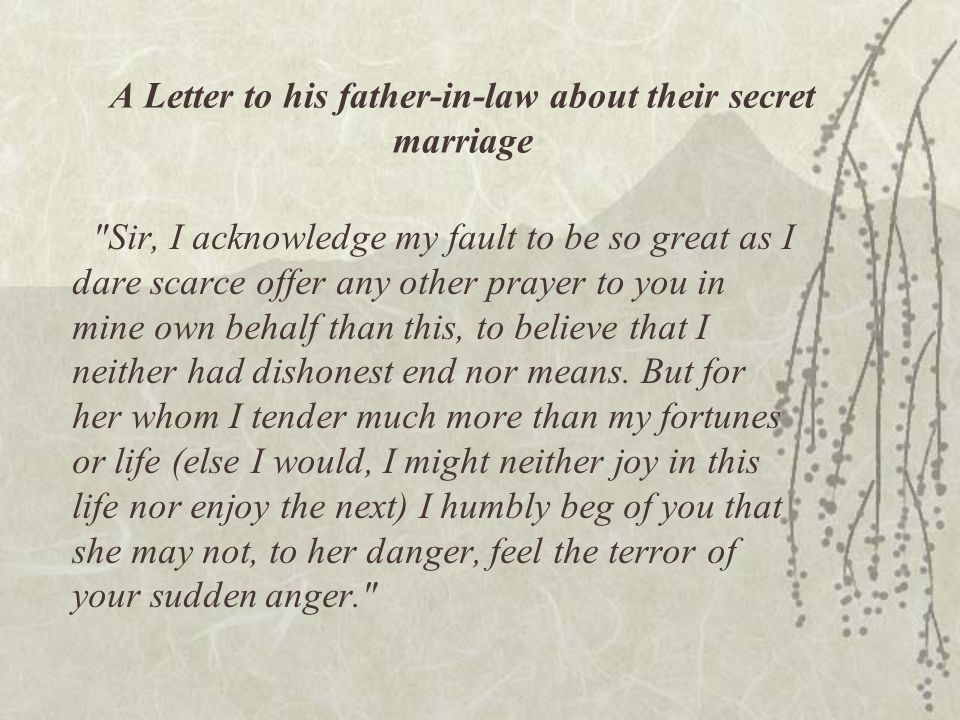 A Letter to his father-in-law about their secret marriage