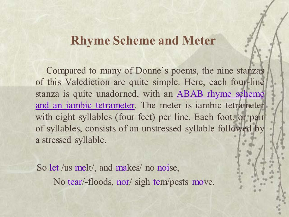 Rhyme Scheme and Meter