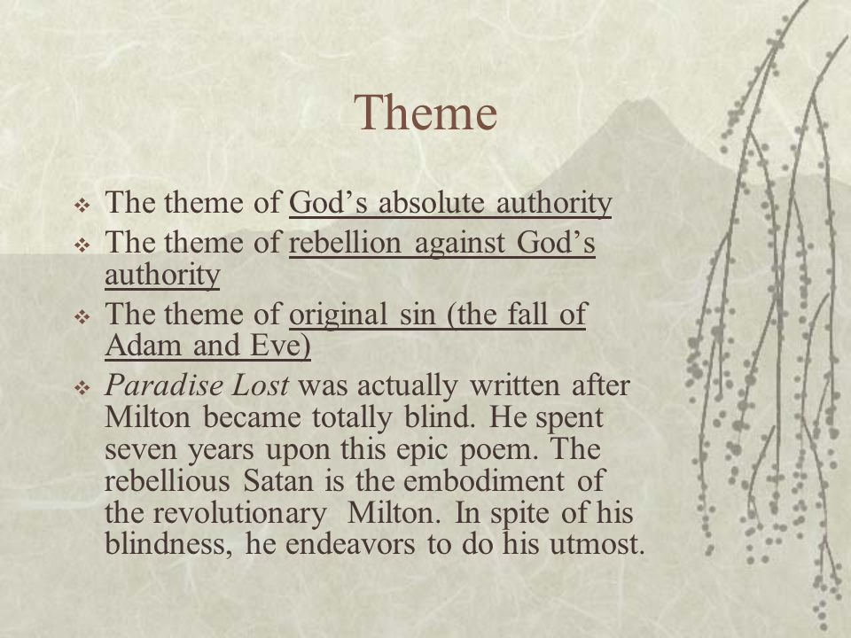 Theme The theme of God's absolute authority