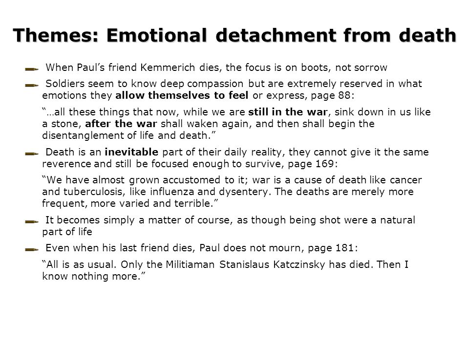 Themes: Emotional detachment from death
