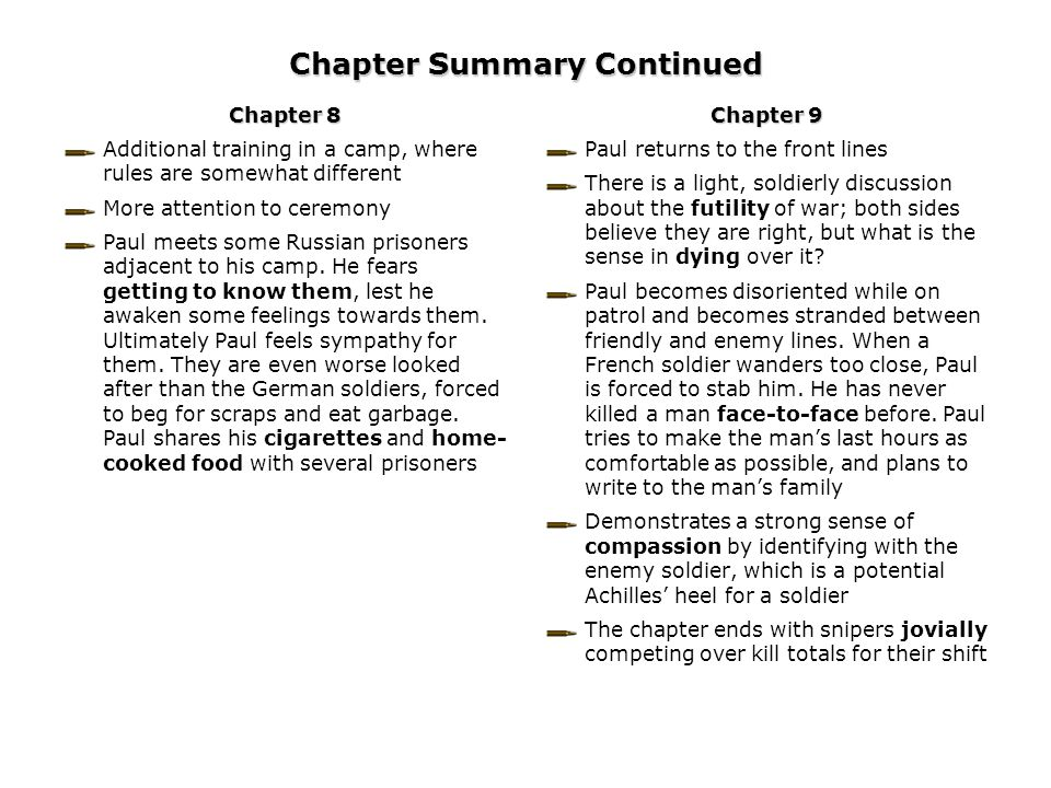 Chapter Summary Continued