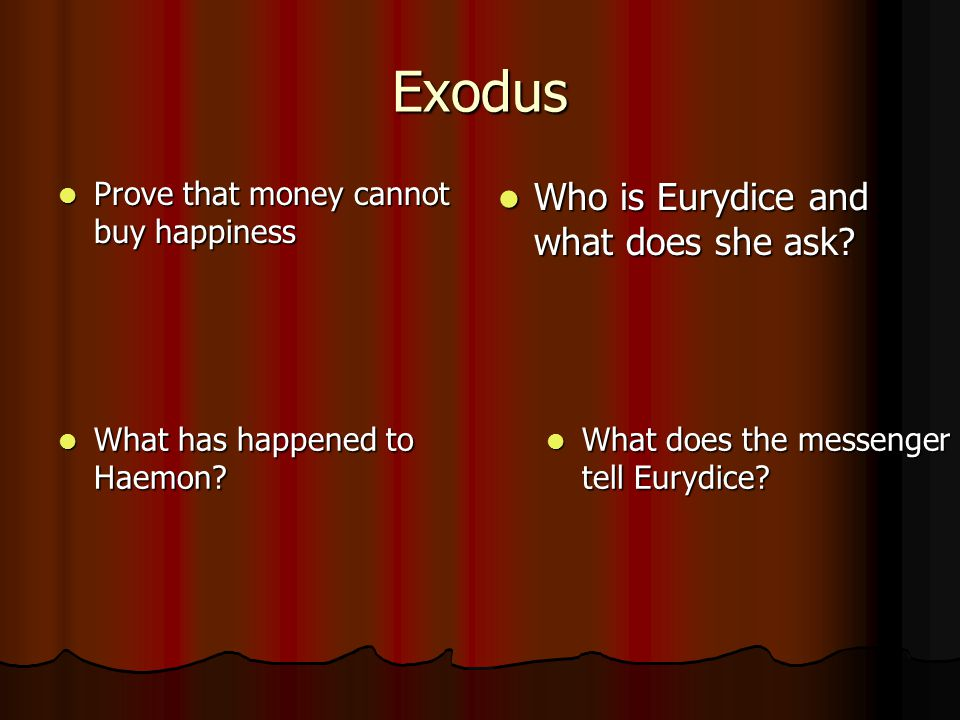 Exodus Who is Eurydice and what does she ask