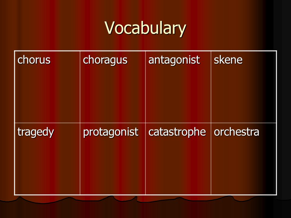 Vocabulary chorus choragus antagonist skene tragedy protagonist