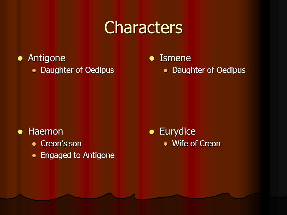 Characters Antigone Ismene Haemon Eurydice Daughter of Oedipus