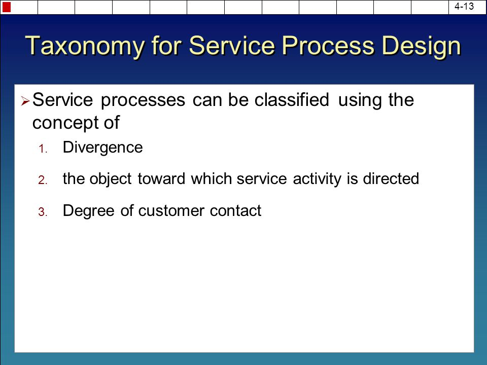 Taxonomy for Service Process Design