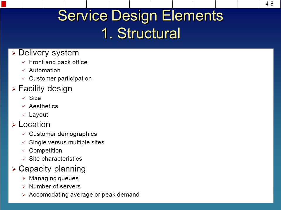 Service Design Elements 1. Structural