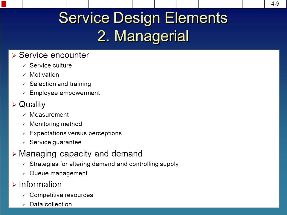 Service Design Elements 2. Managerial