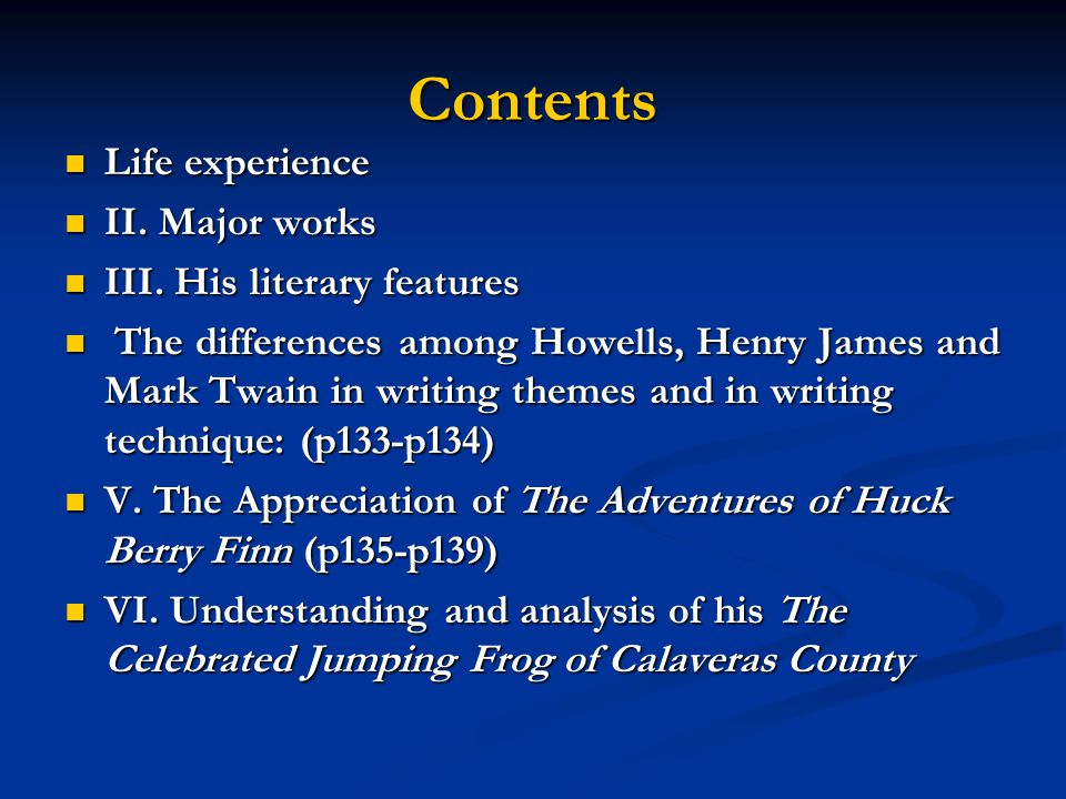 Contents Life experience II. Major works III. His literary features