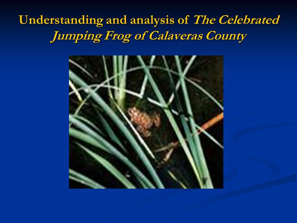 Understanding and analysis of The Celebrated Jumping Frog of Calaveras County