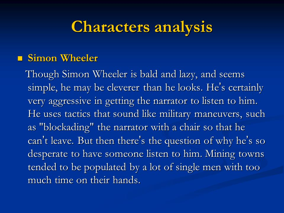 Characters analysis Simon Wheeler