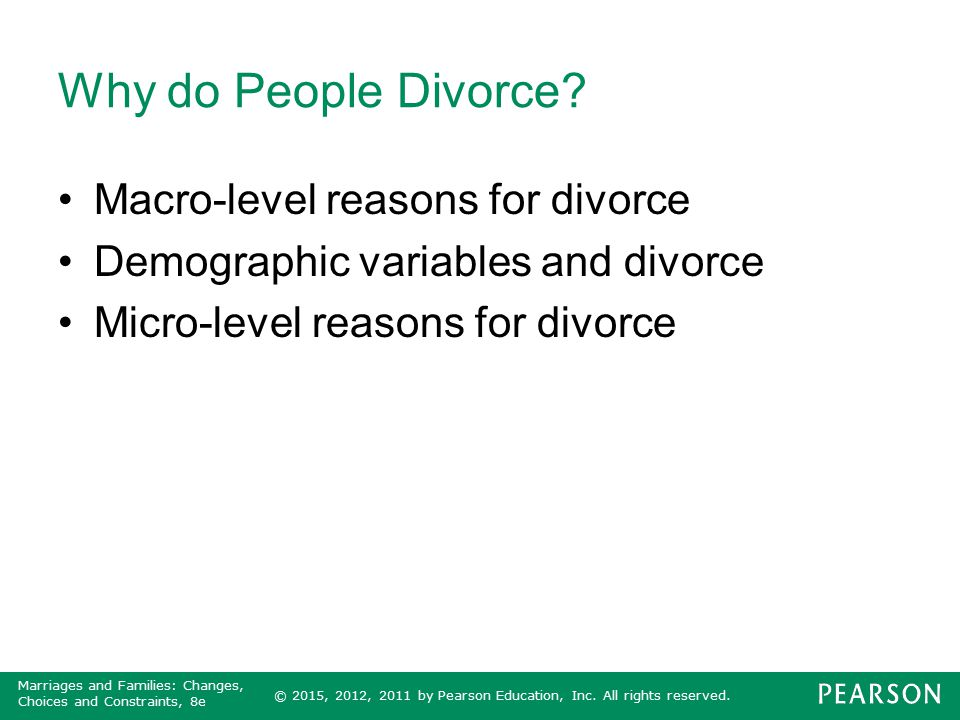 Why do People Divorce Macro-level reasons for divorce