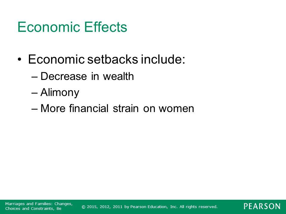 Economic Effects Economic setbacks include: Decrease in wealth Alimony