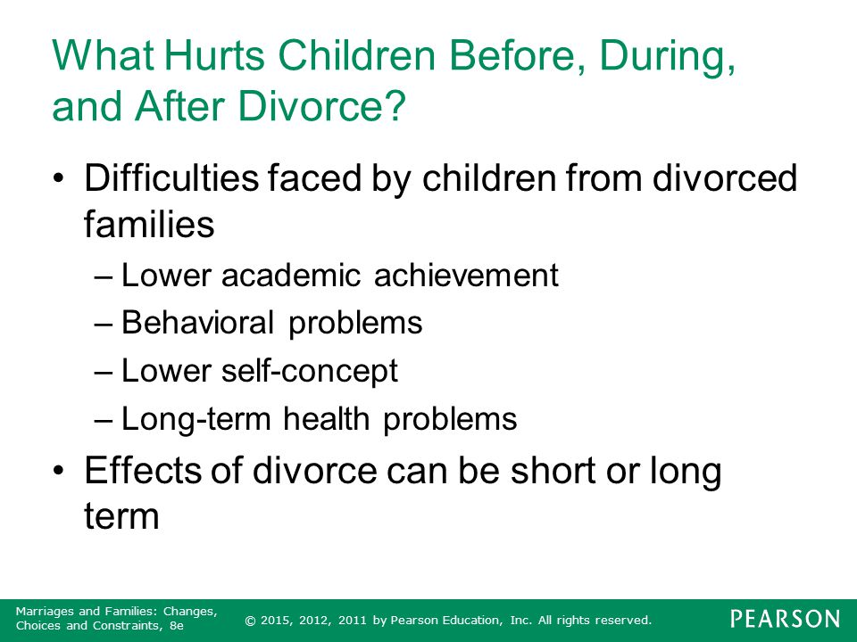 What Hurts Children Before, During, and After Divorce