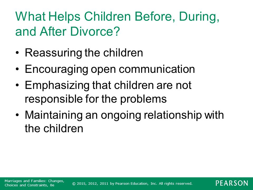 What Helps Children Before, During, and After Divorce