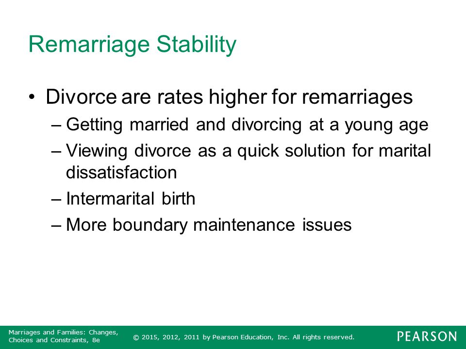 Remarriage Stability Divorce are rates higher for remarriages