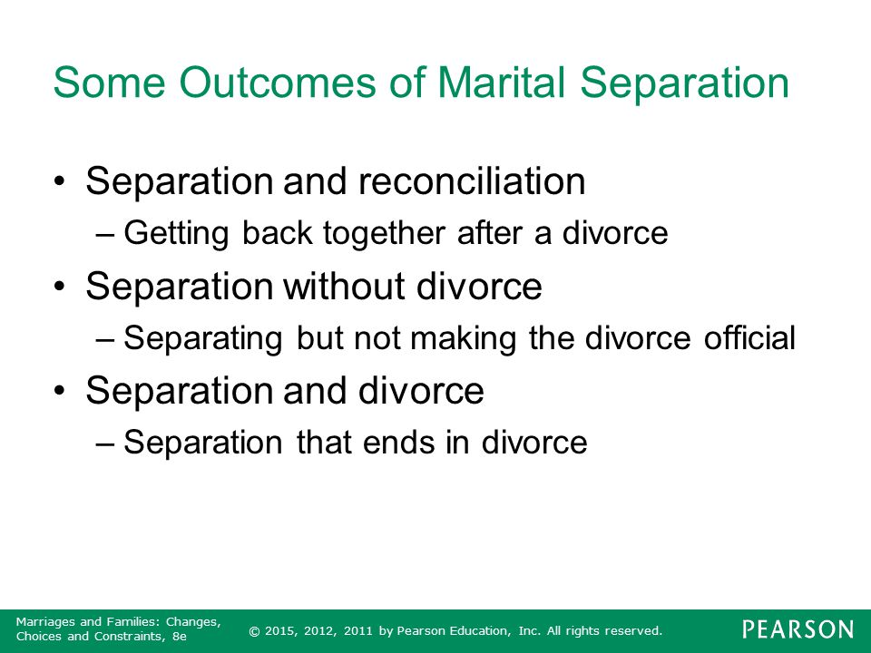 Some Outcomes of Marital Separation