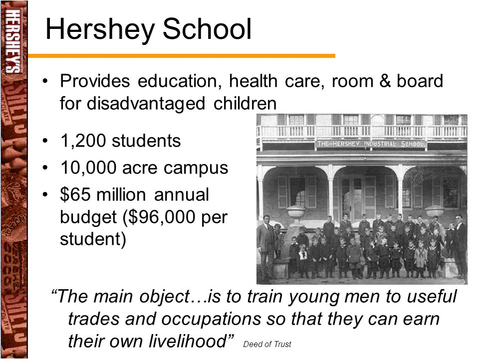Hershey School Provides education, health care, room & board for disadvantaged children. 1,200 students.