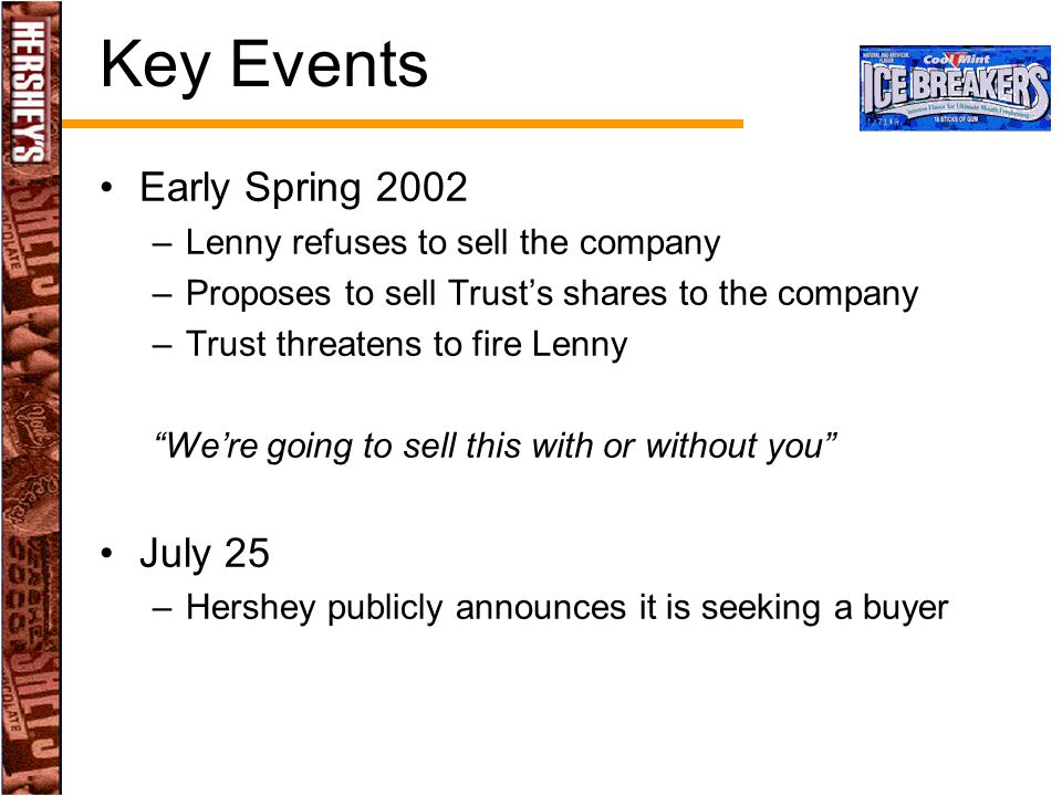 Key Events Early Spring 2002 July 25 Lenny refuses to sell the company