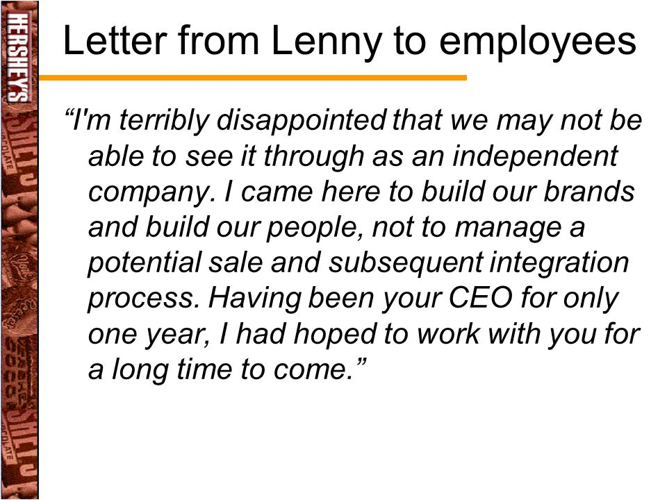 Letter from Lenny to employees