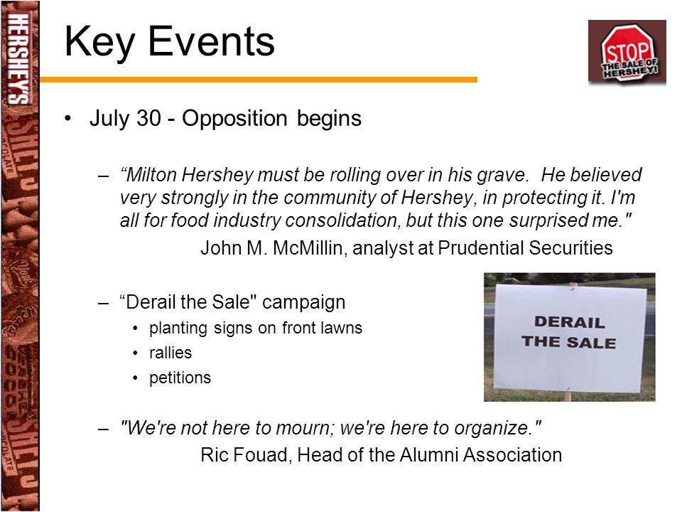 Key Events July 30 - Opposition begins