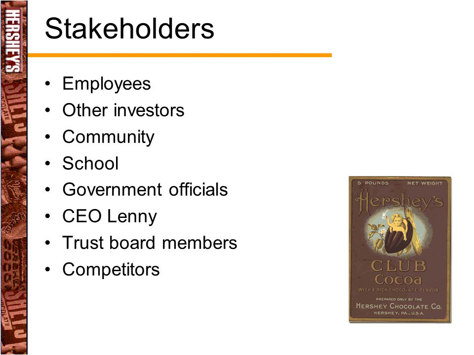 Stakeholders Employees Other investors Community School