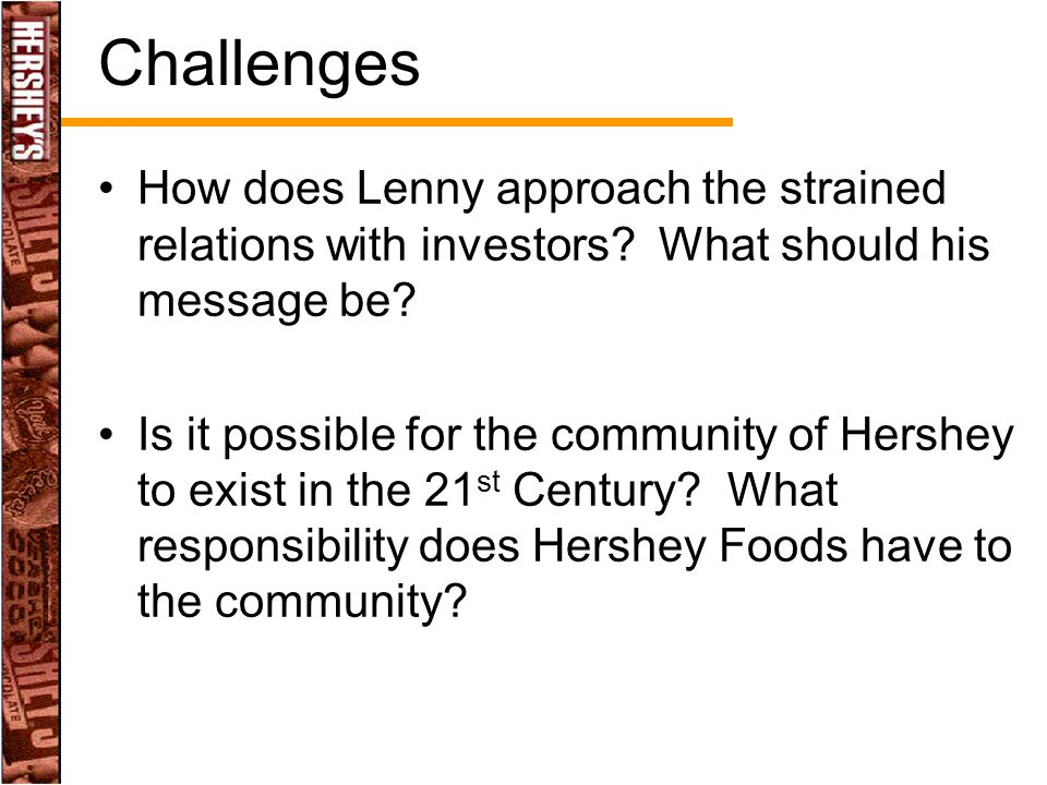 Challenges How does Lenny approach the strained relations with investors What should his message be