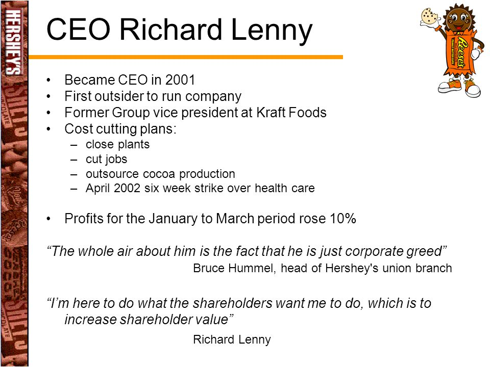 CEO Richard Lenny Became CEO in 2001 First outsider to run company