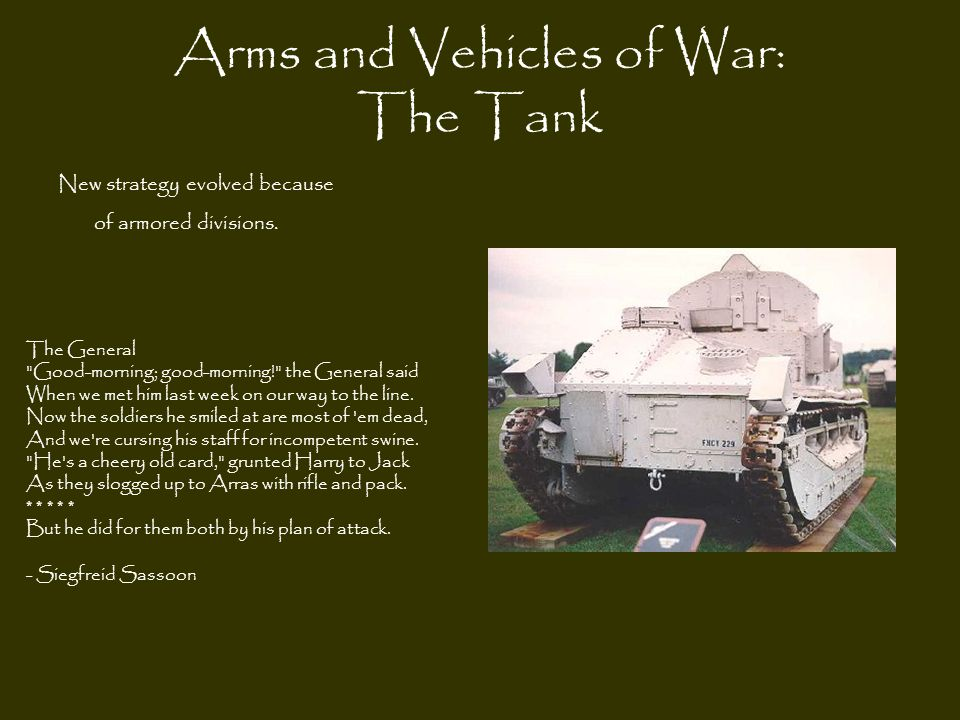Arms and Vehicles of War: The Tank