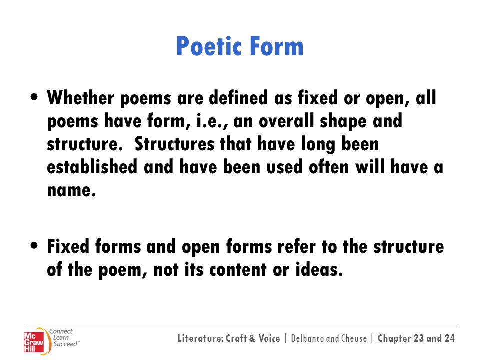 essays on poetic form Poetic form essay assignment we are reading a number of odes and dramatic monologues, enough that you should develop a strong sense of both forms and the variations poets have practiced on them.