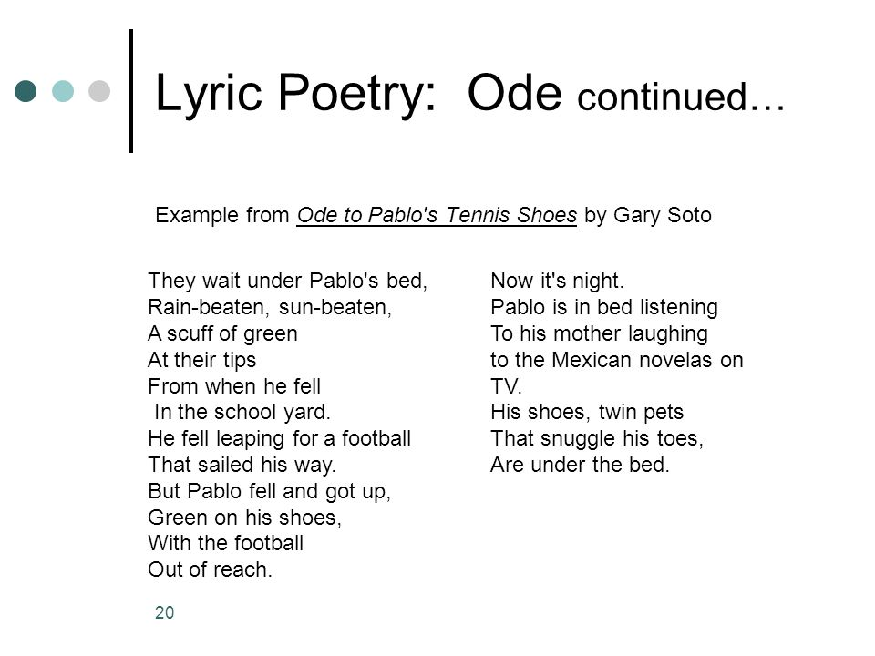Lyric Poetry: Ode continued…