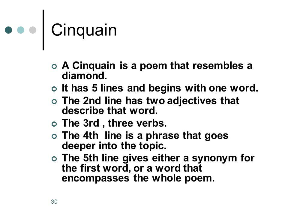 Cinquain A Cinquain is a poem that resembles a diamond.